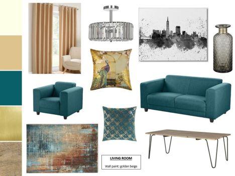 Living Room Teal Madame Pinto Design